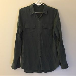 Express olive green button down shirt